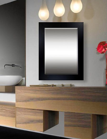Noir - Contemporary style custom mirror frames encompass a range of styles developed in the latter half of the 20th century. Pieces feature softened and rounded lines as opposed to the stark lines seen in modern design. Interiors contain neutral elements and bold color, and they focus on the basics of line, shape and form.