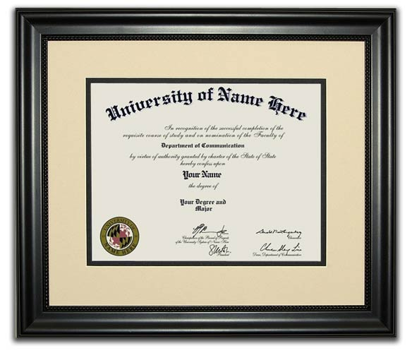 The Collegian Frame - All of the traditional diploma frames created by FrameStore Direct are influenced by the 18th and 19th centuries. The rich woods, fabrics and ornate detailing make these diploma frames professional enough to put in a home or office.